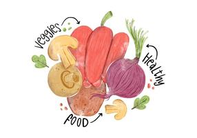 Akvarell Veggies, Peppar, Svamp, Potatis och Kohlrabi
