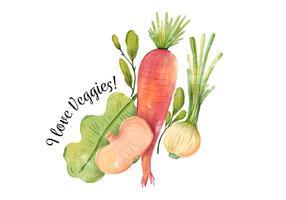 Vattenfärg Veggies, morot, lök och sallad