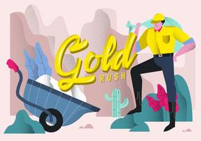 Gold Rush Typografisk Bakgrund Vektor Illustration