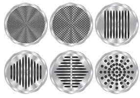 Sex högtalargrillvektorer vektor