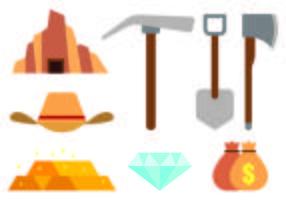 Set von Goldrausch-Ikonen vektor