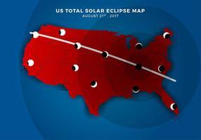 US Total Solar Eclipse Pfad Karte Freier Vektor