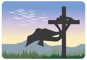 Silhuett av heligt kors vektor