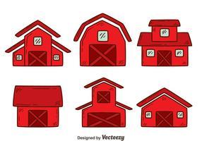 Handdragen röd ladugård vektor