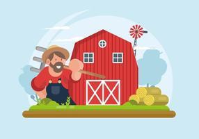 Röd ladugård illustration
