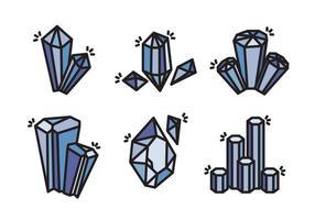 Quarz Kristall Stein Vektor Icon Sammlung