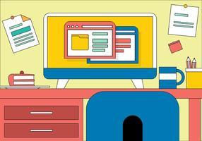 Gratis Flat Vector Designers Desk Illustration