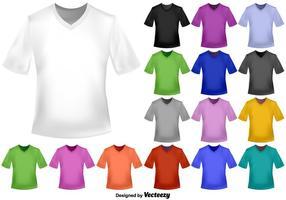 Vektor uppsättning av färg V-halsa T-shirts