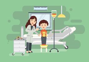 Kvinna Barnläkare På Klinikrummet Vektorillustration