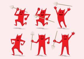 Lustige rote Teufel-Charaktere vektor