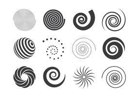 Sammlung von schwarzen und weißen Spiralelementen