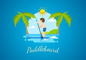 Paddleboard platt fri vektor