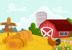 Farm Field And The Red Barn Vector