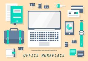 Gratis platt Office Workplace Vector Illustration