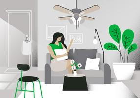 Modern Living Room Vektor Bakgrund Illustration