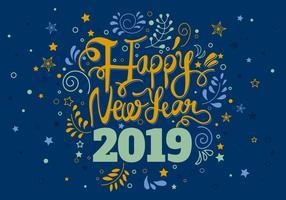 Lyckligt nytt år hälsningskortsmall vektor