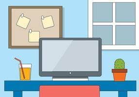 Gratis Flat Vector Designers Desk Illustration