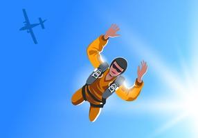 Skydiver springt vom flachen Vektor