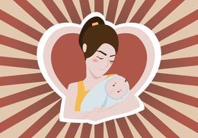 Kvinna Holding Baby Vektor Illustration