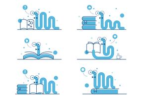 Netter blauer Bücherwurm-Vektor