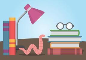 Bücherwurm und Stapel Bücher