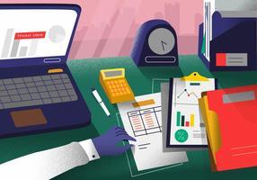 Bokföring Office Desk Vector Illustration