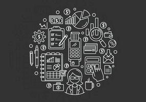 Finansiell bokföring och bokföringslinje ikonuppsättning vektor