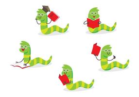 Bücherwurm Cartoon Set