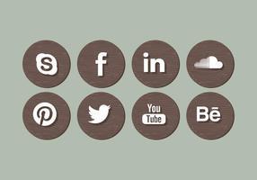 Vektor Holz Social Media Icons