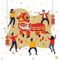 kinesiskt nyår lejon dans