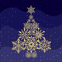 schneeflockenförmiger Weihnachtsbaum mit blauer Welle vektor