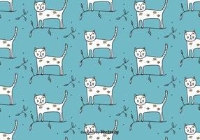 Katze auf Zweig-Vektor-Muster vektor