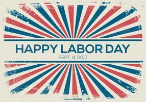 Labor Day Retro Sunburst Style Hintergrund vektor