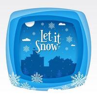 Lassen Sie es Schnee Typografie Titel mit Schneeflocken auf einem Vollmond-Konzept vektor