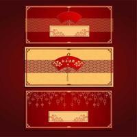 gyllene röda 2021 kinesiska nyår festival banner vektor