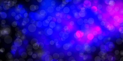 dunkelrosa, blauer Hintergrund mit Kreisen.