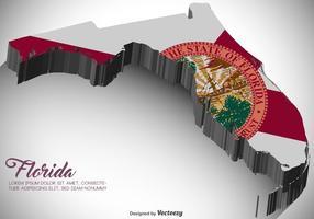 Vektor 3D Florida karta med flagga