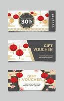 Set Geschenkgutschein chinesisches Neujahr vektor