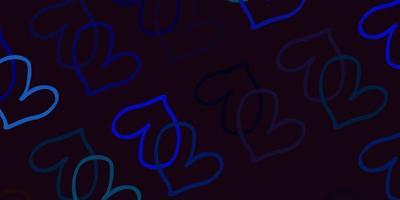 blauer Hintergrund mit süßen Herzen.