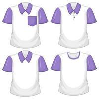 uppsättning olika vita skjortor med lila korta ärmar isolerad på vit bakgrund