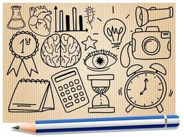 verschiedene Gekritzelstriche über Schulausrüstung auf einem Papier mit einem Bleistift