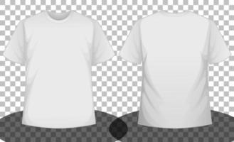 vit kortärmad t-shirt fram och bak vektor