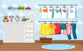 Kinderkleidung auf einer Wäscheleine mit vielen Spielsachen in der Raumszene vektor