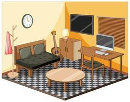 vardagsrum med isometrisk inredning