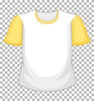 leeres weißes T-Shirt mit gelben kurzen Ärmeln auf transparent