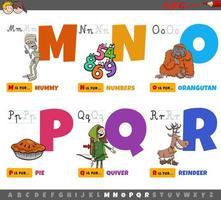 alfabetbokstäver för barn från m till r