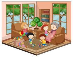 farmor med barnbarn i vardagsrummet med möbler