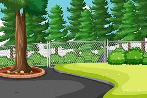 Naturparkszene mit vielen großen Kiefern vektor