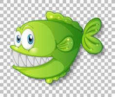 grüne exotische Fischkarikaturfigur auf transparentem Hintergrund