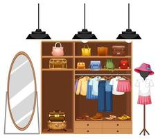 isolerade kläder i garderoben vektor